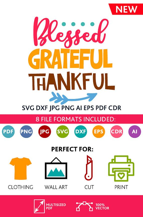 Blessed Grateful Thankful SVG Cut File Wall Art Quote Printable Art Decor room Art Printable Poster digital (Svg Dxf Cdr Eps Ai Jpg Pdf Png)