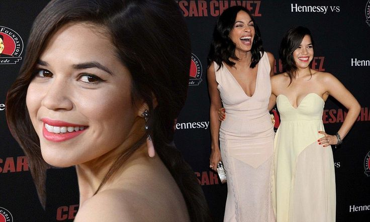 America Ferrera poses with Rosario Dawson at the premier of Cesar Chavez #DailyMail