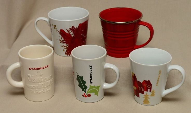 5 Starbucks Christmas Mugs Holiday Coffee Cups 2007-2014 Red Embossed Holly Lot #Starbucks