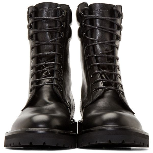 Saint Laurent Black Leather High Combat Boots (38,215 PHP) ❤ liked on Polyvore featuring men's fashion, men's shoes, men's boots, mens lace up boots, mens black boots, mens round toe cowboy boots, mens lace up shoes and mens black shoes