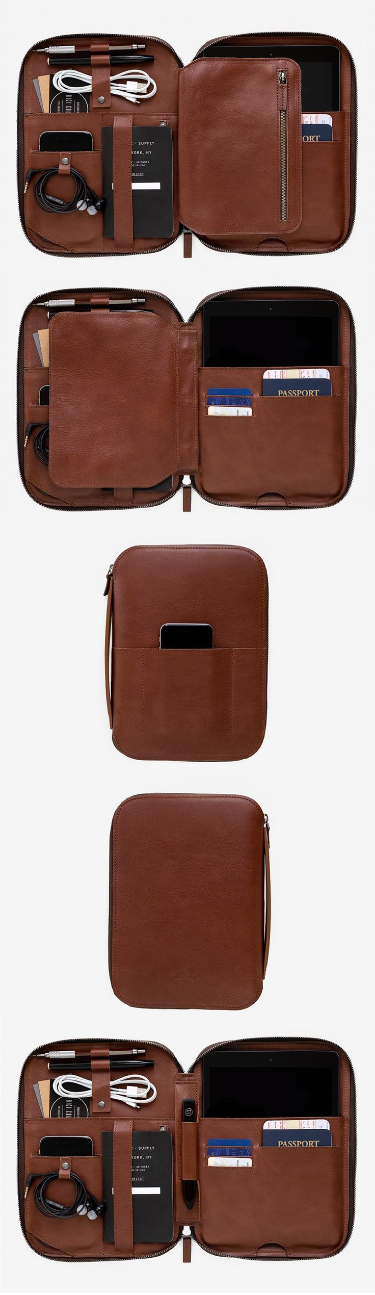 mod tablet - leather case for you tech, tablet, cords, passport, pens, pencils, stylus, phone, notebook & papers