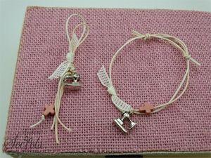 Μαρτυρικά πέτου και βραχιολάκια  για κοριτσάκι με σταυρό χαολίτη και ραπτομηχανή μεταλλική