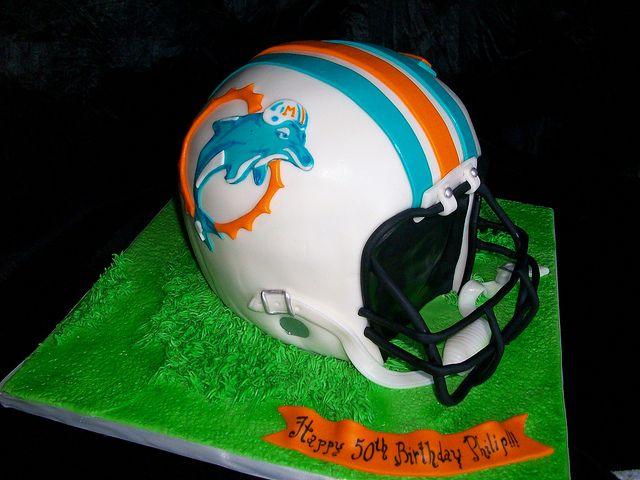 Miami Dolphins helmet cake