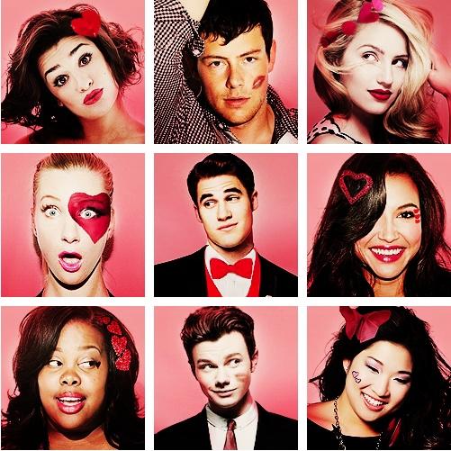 Rachel, Finn, Quinn, Brittany, Blaine, Santana, Mercedes, Kurt, Tina