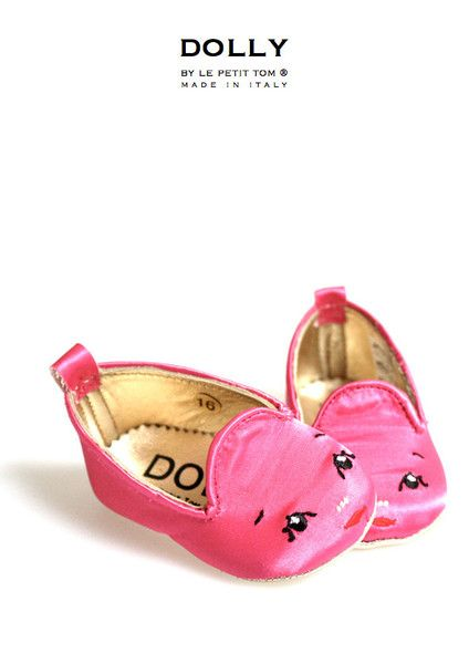 DOLLY by Le Petit Tom ® BABY Smoking Slippers 5SL fuchsia Dolly face