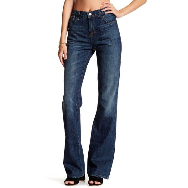 J Brand Sabine Flared Jean ($30) ❤ liked on Polyvore featuring jeans, maggie may, high waisted flare jeans, faded jeans, relaxed fit jeans, zipper jeans and flared jeans