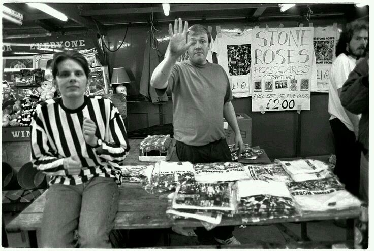 Stone Roses merchandise for sale at Glasgow Green. (1990) Picture: Ian Tilton