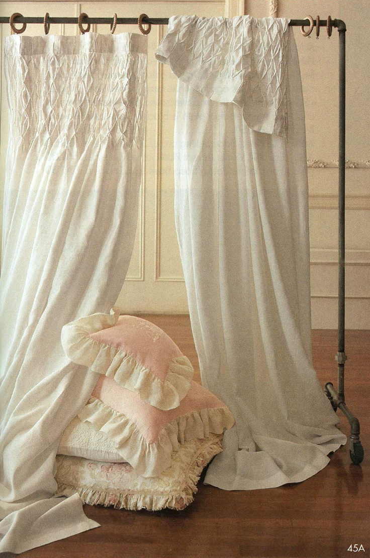 Romantic Luxury Pom Pom At Home Smocked Linen Curtain