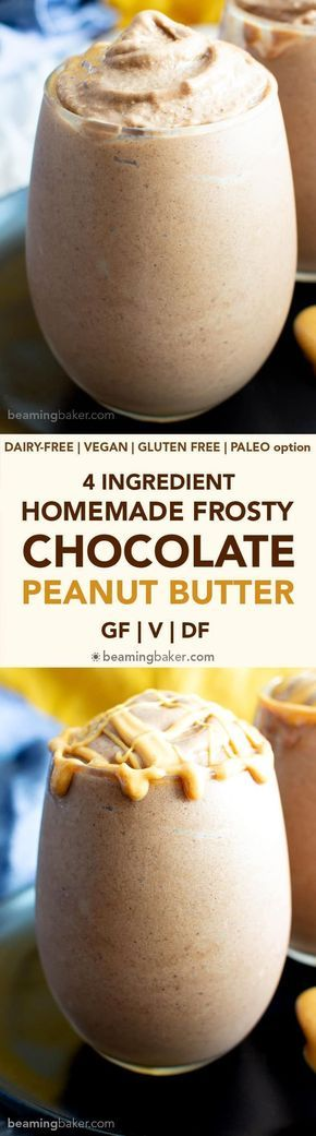 4 Ingredient Chocolate Peanut Butter Homemade Frosty Recipe (V+GF): an easy, 5-m…