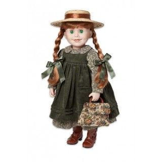 Anne of Green Gables: The soft corduroy pinafore goes over the long sleeve print dress. Highly detailed old fashioned boots, ribbed brown tights, green hair ribbons and, of course, the necessary bloomers complete her costume.