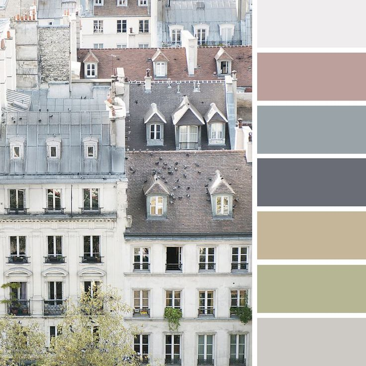Building Colour Palette - neutral blue, green and brown