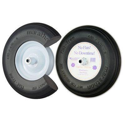 "Marathon Industries 16"" Ribbed Flat Free Wheelbarrow Tire"