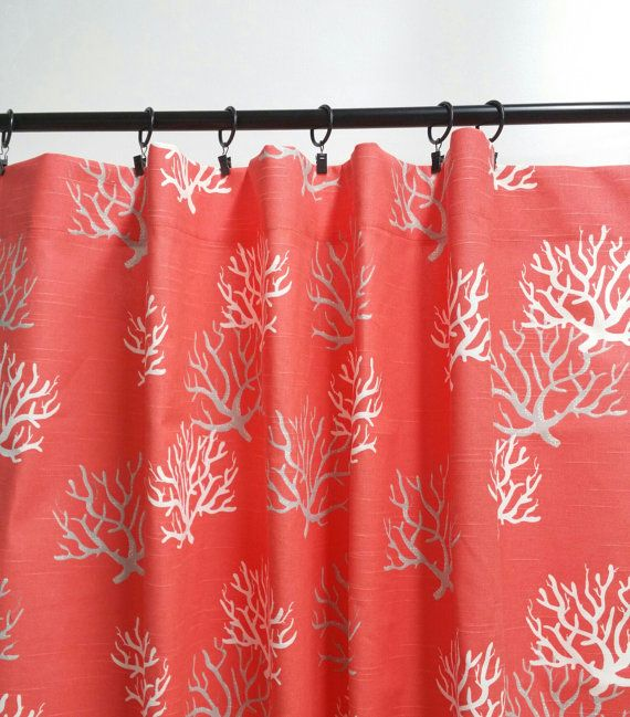 Coral Curtain. 2 panel curtain. Coral. Window Treatment.set of two.Coral curtain.cotton.unlined.Designers pattern.Choose  your sizes.cm
