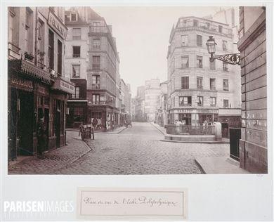 Place et rue de l'Ecole Polytechnique. Paris (Vème arr.). Photographie de Charles Marville (1813-1879). Paris, musée Carnavalet.