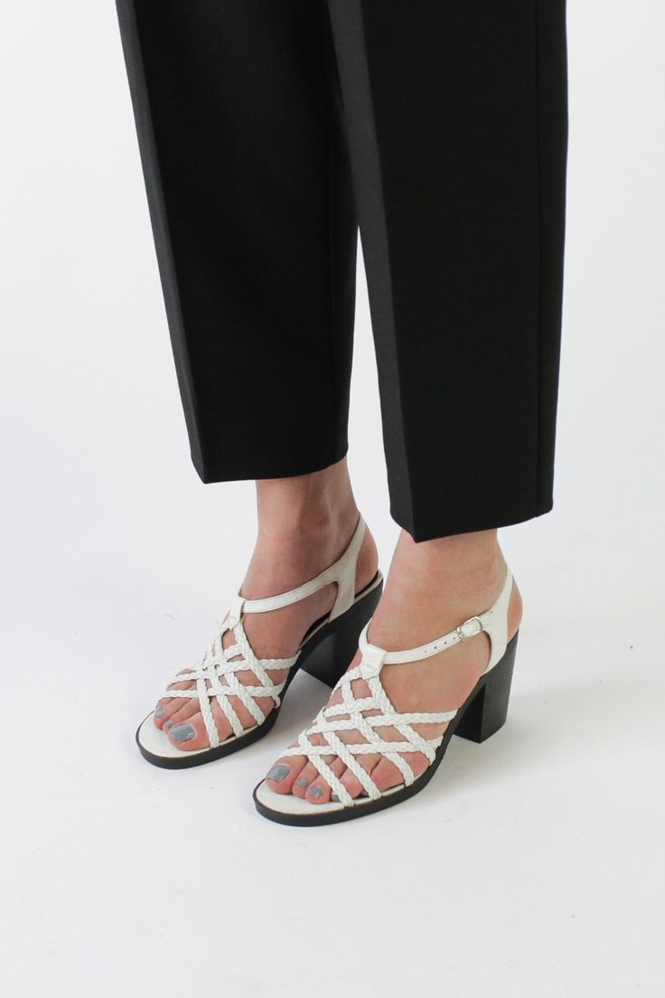Vintage 90s White Braided Strappy Sandals with Chunky Heel ...