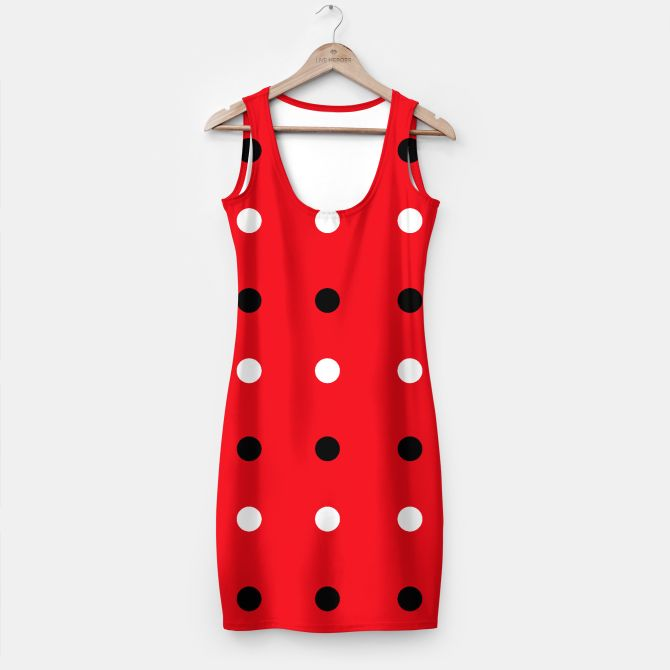 Luxury Red MINIDRESS with Colorful 50s Dots