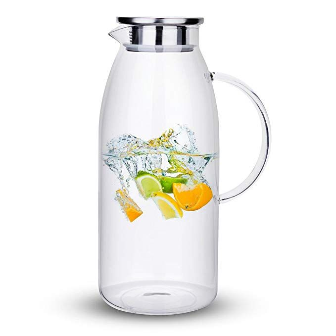 Purefold 100 Ounces Large Glass Pitcher With Lid Hot Cold Water