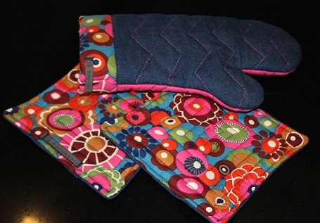 Oven Mitt and Potholder set Pink Denim Retro Floral  by kustomkate
