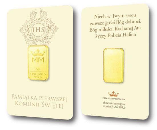 Prezent - Pierwsza Komunia Św. Sztabka złota w pamiątkowym opakowaniu. Z dedykacja i grawerem! Inwestuj z uczuciem! www.mennicamalopolska.pl.  #sztabka #zloto #zlotyprezent, #pierwszakomunia #prezentnakomunie #sztabkazlota