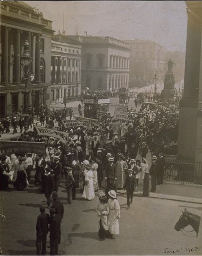Suffragette Procession on route to Hyde Park, Women's Sunday 21st June 1908. This was one of the seven processions that marched through London on Women's Sunday to a rally in Hyde Park.
