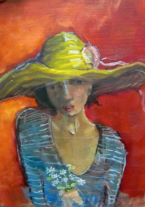 Freckle Girl with Giant hat and Daisies.  von StudioJulietteB, $64.00