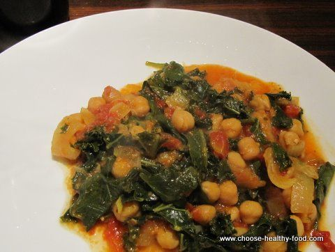 Indian Chick Pea Curry with Kale or Swiss Chard Recipe by LUCKYCP via @SparkPeople