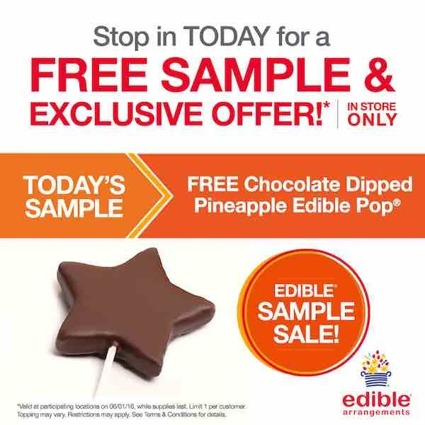 Check out this freebie from Edible Arrangements! Get a FREE Chocolate Dipped Pineapple Pop! Just head over the the nearest Edible Arrangements location and mention this offer! It's that easy!