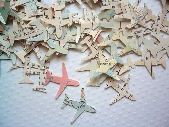 Airplane Wedding Confetti. This would be a great use for Stephen's old maps.