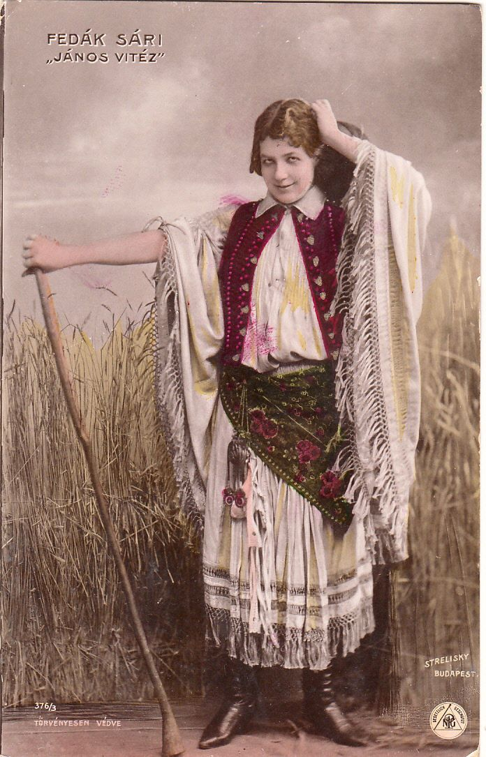 Vintage Postcard Famous Hungarian Actress Fedak Sari Janos Vitez Costume Dress | eBay