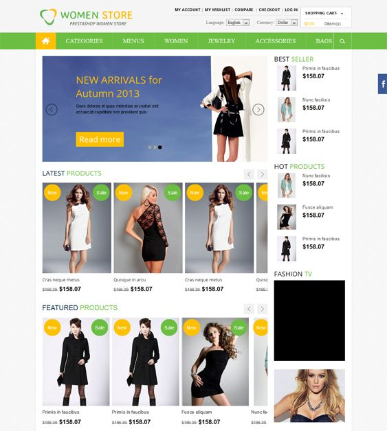 This Bootstrap PrestaShop theme has a responsive layout, Ajax search with product images, over 500 Google Web Fonts, unlimited colors, Nivo Slider, a back to top button, a slideshow banner, PSD files, and more.