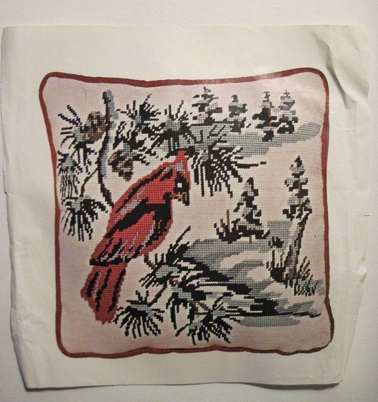 Needlepoint Pillow Decoration Perhaps Crossword : Cardinal Winter Snow Scene Needlepoint Pillow Kit 14x14
