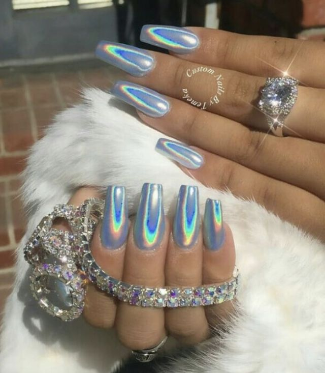 Icy Blue Ombre Nails Best Acrylic Nails Holographic Nail Designs Holographic Nails