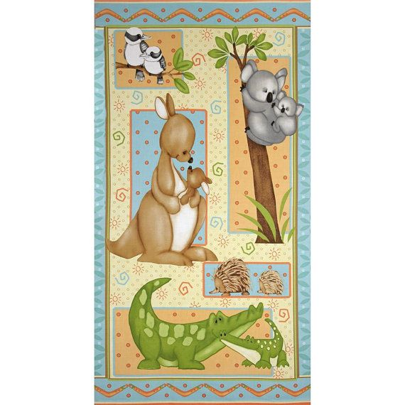 Mommy and Me Australian Animal Quilt Fabric Wall Hanging Panel Henry Glass 23.5 x 44