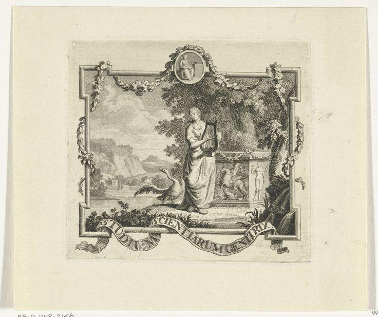 Hendrik Hoogers | Vignet met Poëzie met lier en zwaan in landschap met omlijsting, Hendrik Hoogers, 1727 - 1793 | Vignet met vrouwelijk personificatie van de Poëzie die een lier bespeelt op de oever van een water in een zuidelijk landschap. Achter haar staat een sokkel met in reliëf Bellerophon die de Chimaera verslaat, een zwaan op de oever spreidt zijn vleugels. In een klein medaillon is de Waarheid weergegven. Om een lijst slingeren een guirlande en een banderol met motto Studium…