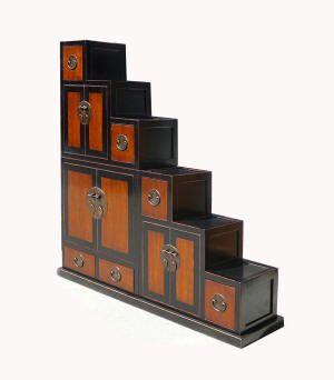 Japanese Solid Elm Wood Step Storage Tansu Display Cabinet WK2529