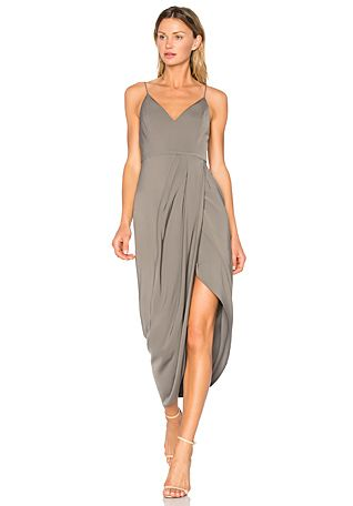 Shona Joy Stellar Drape Dress in Olive | REVOLVE