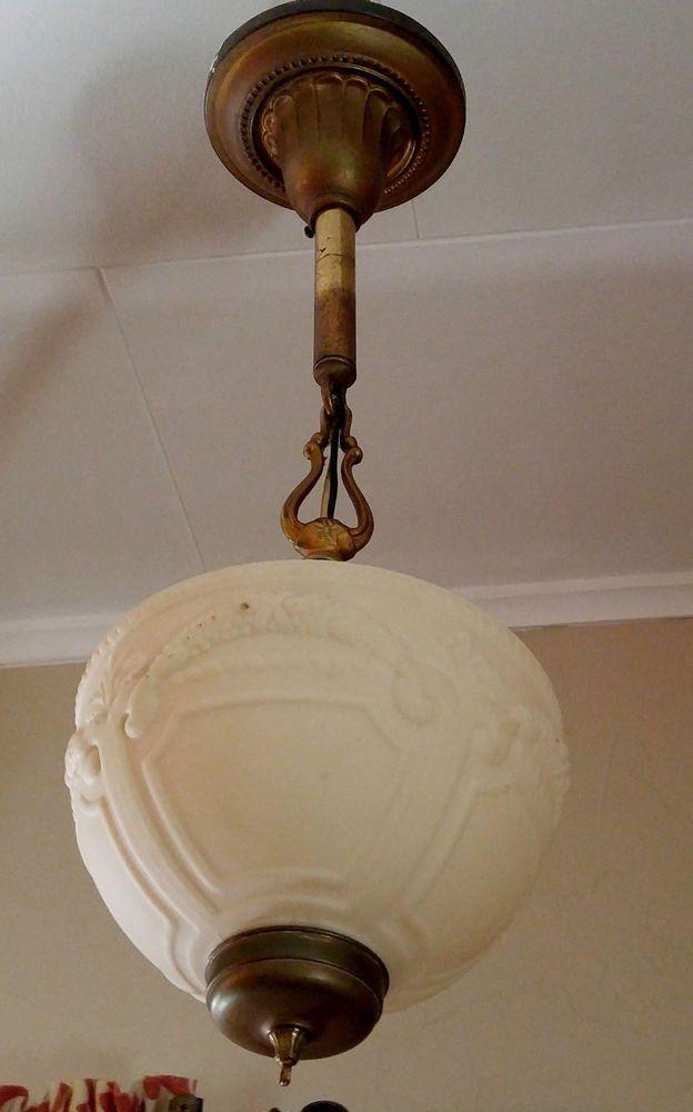 antique vtg art deco hanging pendant ceiling light fixture custard rh pinterest com