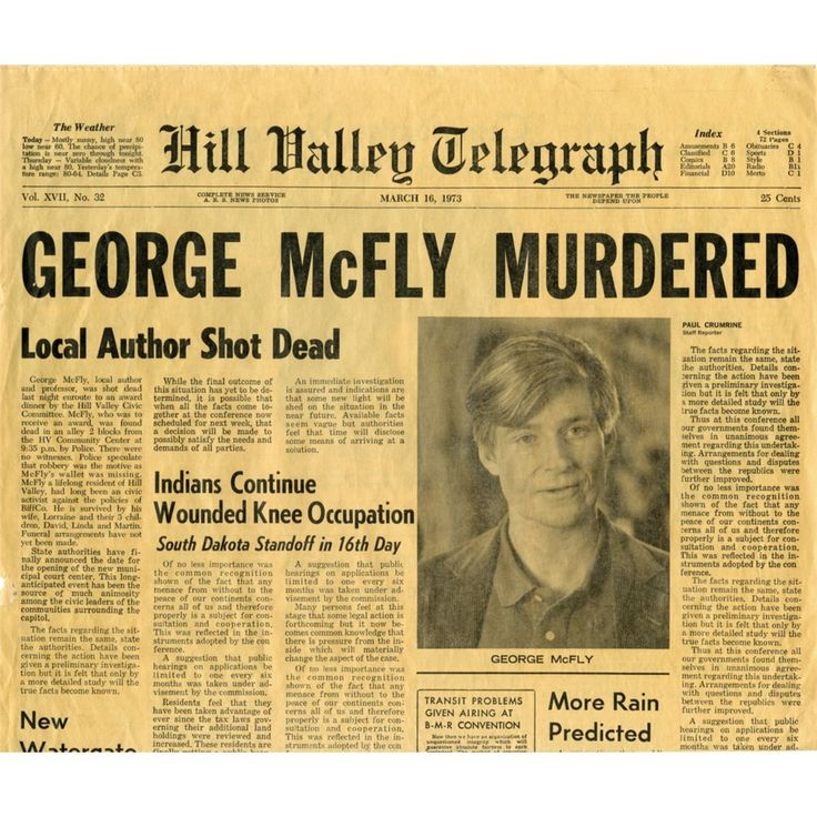 Hill Valley Telegraph - George McFly Murdered (Back to the Future: Part II)