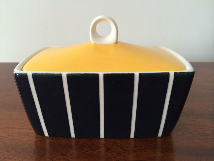 HORNSEA POTTERY ELEGANCE BUTTER DISH VINTAGE RETRO BLACK/WHITE/YELLOW