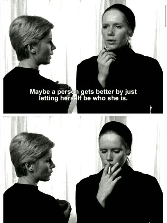 "Persona (1966) ""My words mean nothing to you. People like you can't be reached. I wonder whether your madness isn't the worst kind. You act healthy, act it so well that everyone believes you, everyone except me, because I know how rotten you are."" Dir. Ingmar Bergman"