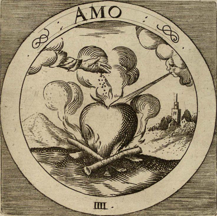 """CramerEmblemataSacra-1-5.jpg (1079×1075) Amo - Любить  Ох уж это Амо, тяжкий труд и бросить никак и заверешить неполучается.  Земля Телесных вожделений дровишки подкладывает, Воздух-Ветер ментальных зацикленностей поддерживает огонек, а Великий Трехпалый сыпет соль в котел сердечный, ну кому соль, а кому пороху а кому и """"порошка проэкции"""" подкинет.  Короча Амор - а+more - Бес Смертие."""