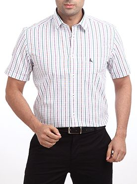 Brighten your wardrobe with this multi colored casual checkered shirt from the house of Raymond. The shirt is designed with contrast buttoned placket on the front side. The left side chest pocket has an embroidered logo on it, which makes it look attractive when worn. The quality of cotton used is superior and thus this designer shirt does not require maintenance. This shirt is a smart style for all our fashionable men. Team this with a pair of light colored jeans and sleek shoes.