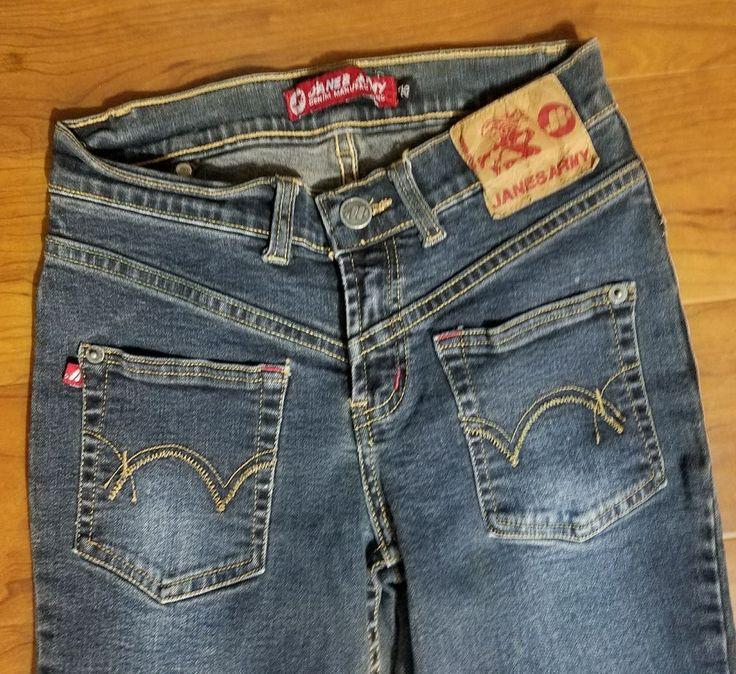 Rare Janes Army Jeans Size 25 Backwards Back Pockets on Front 25X33 Dark Wash #JanesArmy #SplitLegsBootCut