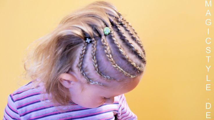 Halbe Cornrows für ein süßes, blondes Mädchen - www.magicstyle.de