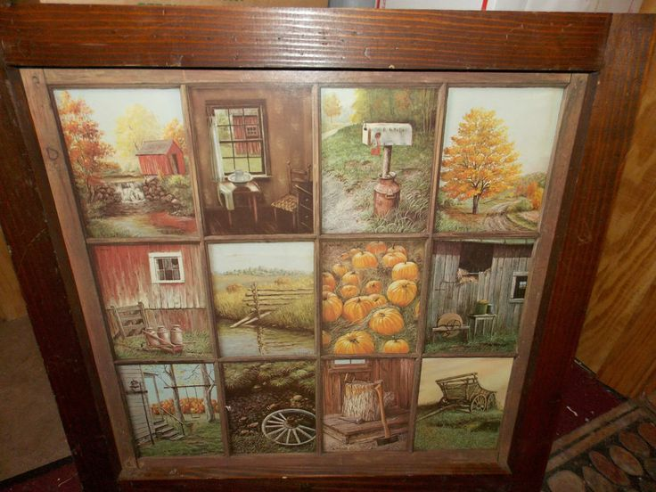 HOMCO HOME INTERIOR WINDOW PANE PICTURE RUSTIC FALL SCENESB MITCHELL