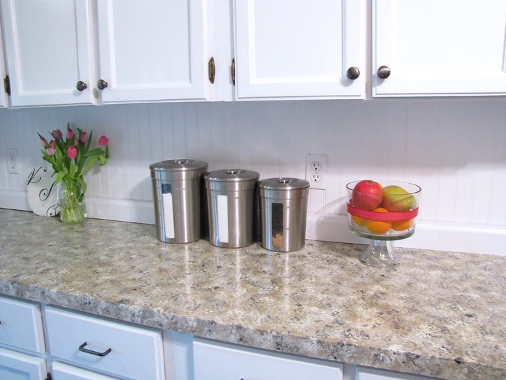 Bead Board Backsplash Faux Granite Countertops Home