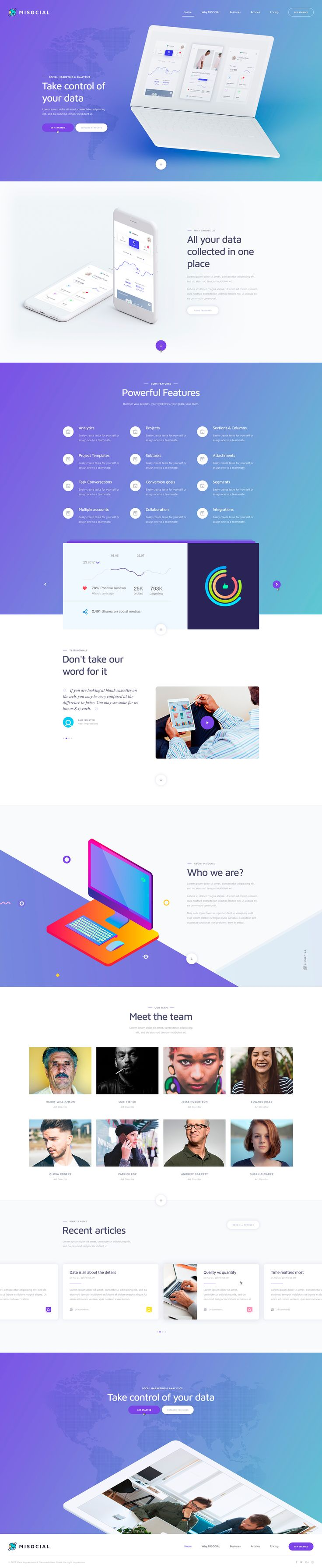 MISOCIAL – Free Template  Carefully crafted 7 web pages that include elements vital to developing any new website. The images are all free and included as smart objects. The fonts used are free Google fonts. Free for personal use.