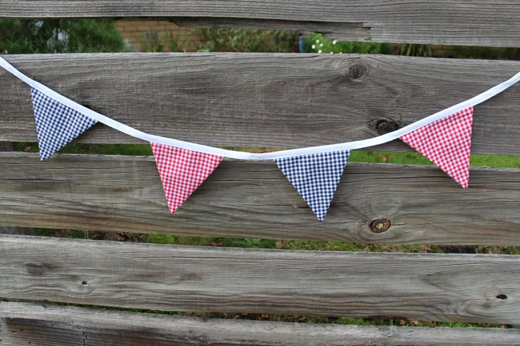 4 Metre Gingham Decorative Bunting- Red and Navy Gingham Fabric by millinthesky on Etsy