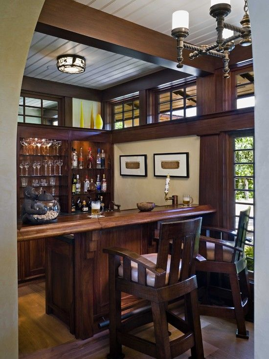 Awesome House Design For The Holiday : Traditional Home Bar With Wooden Bar  Stools Tropical Split