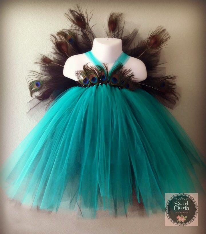 Peacock Tutu Dress, Peacock costume, Feather Dress, Teal tutu dress, Teal Flower…